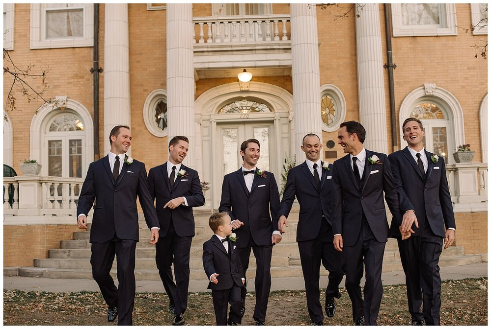 Groomsmen Smiling | Lindsey and Jeff's Intimate Wedding at Grant Humphrey's Mansion | Denver Colorado Photographer | Farm Wedding Photographer | Apollo Fields Photojournalism