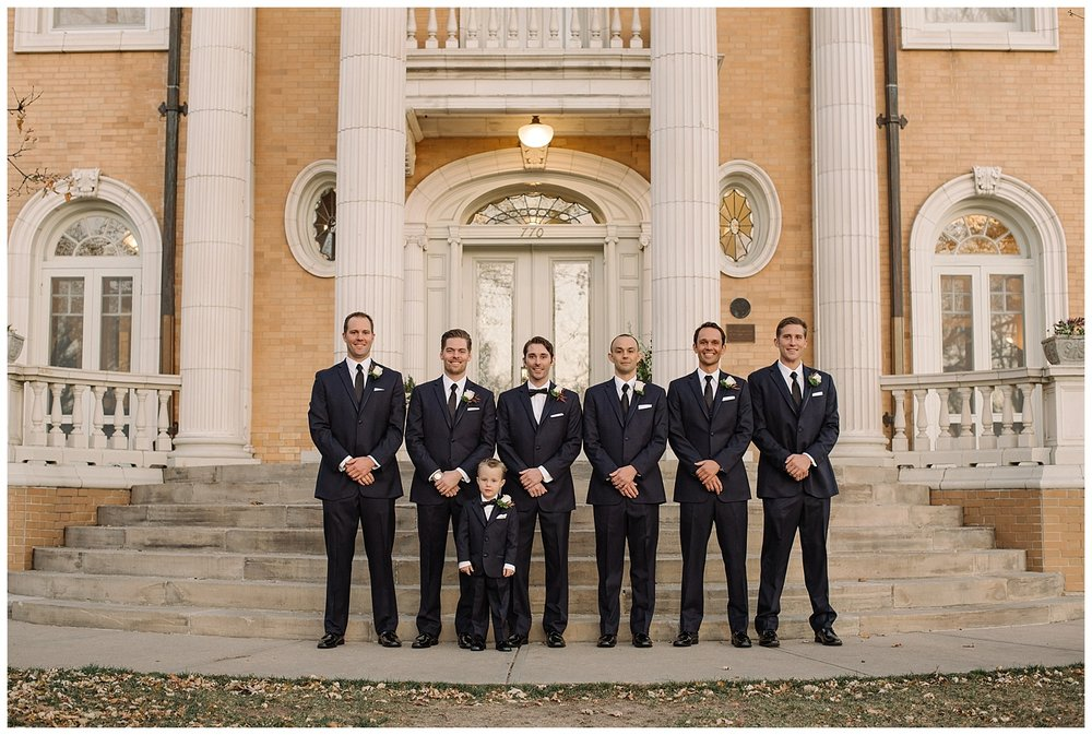 Groomsmen Standing on Steps | Lindsey and Jeff's Intimate Wedding at Grant Humphrey's Mansion | Denver Colorado Photographer | Farm Wedding Photographer | Apollo Fields Wedding Photojournalism