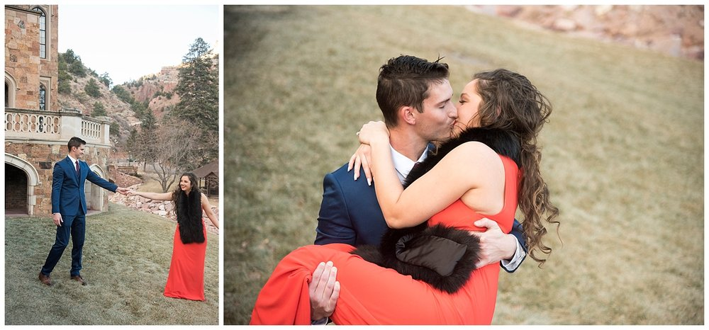 Man Holding Woman in His Arms | Nicholas and Eden's Surprise Proposal at Glen Eyrie Castle | Colorado Springs Photographer | Farm Wedding Photographer | Apollo Fields Wedding Photojournalism