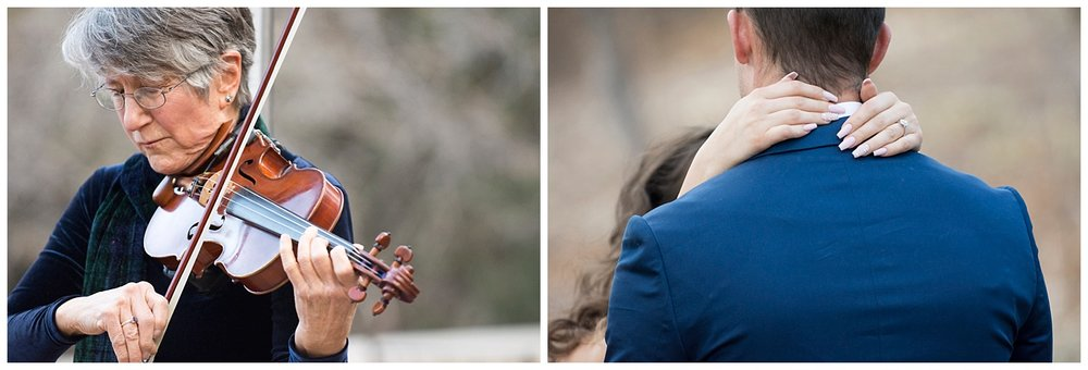 Intimate Photo of Violinist | Woman's Hands Wrapped around Man's Back | Nicholas & Eden's Surprise Proposal at Glen Eyrie Castle | Colorado Springs Photographer | Farm Wedding | Apollo Fields
