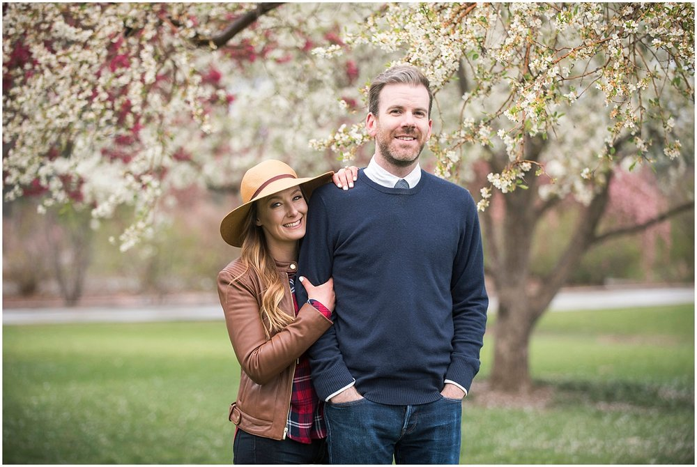 Cherry Blossom Engagement Photos Boho Hat