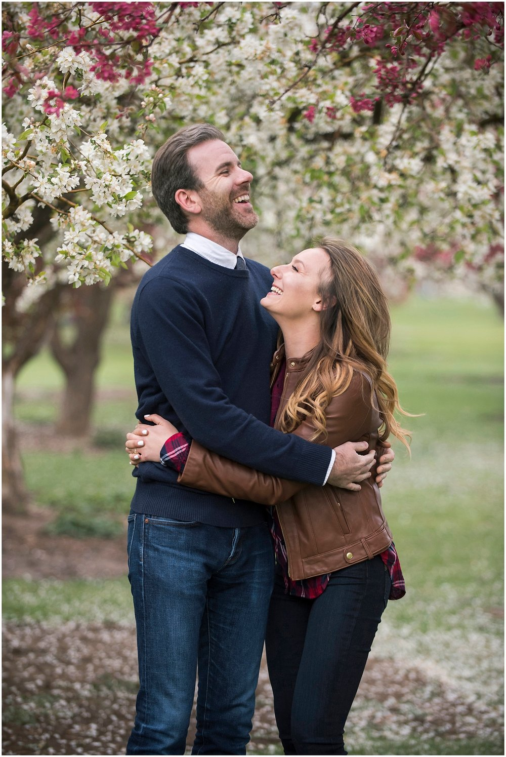 Cherry Blossom Engagement Photos Springtime