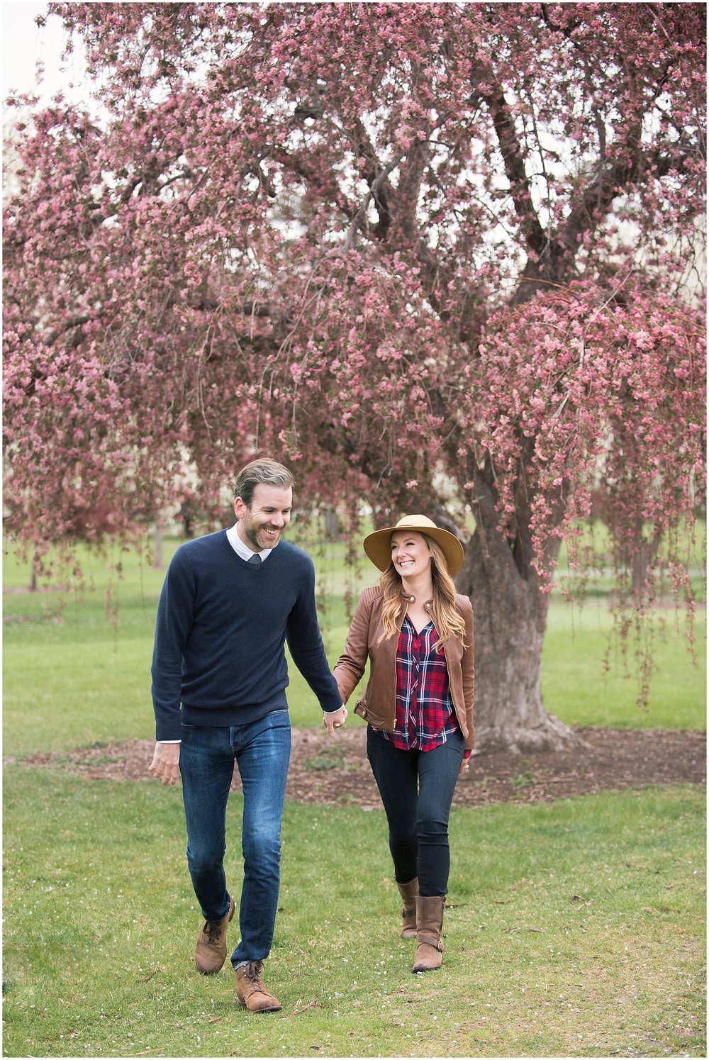 Fun Cherry Blossom Engagement Photos