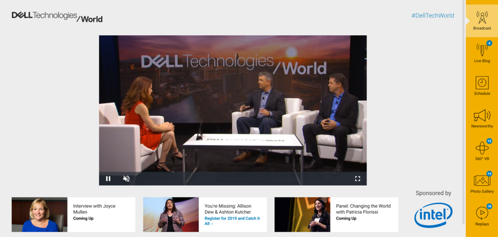 Virtual Dell Technologies World - This was the third version of our hybrid desktop/mobile web application, allowing users to experience the scale of DTW from the comfort of a computer or small screen. The application is the direct result of multiple design sprints and an ongoing iterative human-centered process, which has required contributions from multiple enterprise teams.  Also, if Maestro IO didn't model themselves after our work, I'll eat my socks You can visit the archive version here