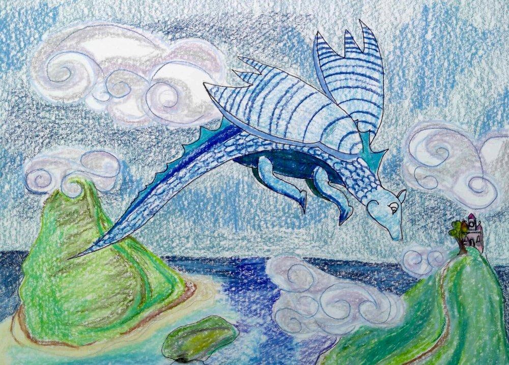 A little blue dragon.
