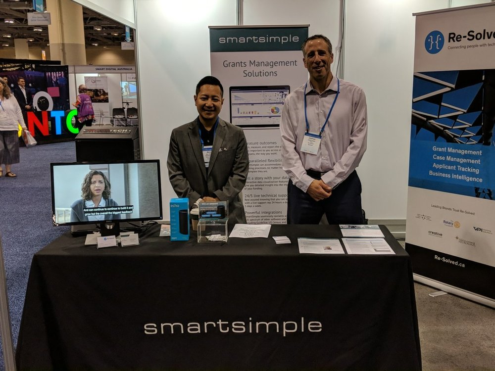 SmartSimple's Director of Marketing, Alex Wong and Re-Solved's CEO, Joshua Sugar at Rotary International's 2018 Conference in Toronto.