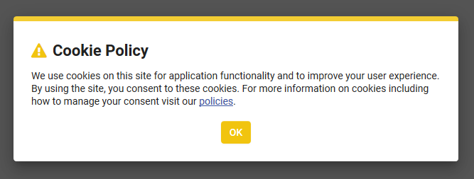 Screenshot of Cookie Policy Template