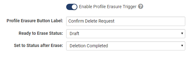 Screenshot of Personal Data Erasure Feature