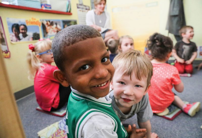 Photo by Cheryl Senter. Students participate in circle time at Laconia Early Learning Center, a program of Lakes Region Child Care Services.