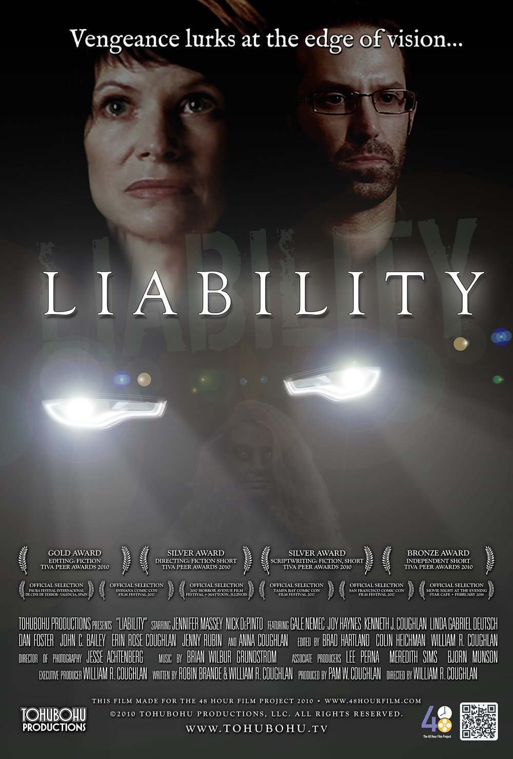"Liability - 2010 · 8:58 · Written by Robin Brande · PRODUCED by Pam W. COUGHLAN · DIRECTED BY WILLIAM R. COUGHLANWhen three sudden deaths befall members of a small law firm, Karen Dunmore begins to suspect that they may be retribution for a terrible crime and its subsequent cover-up. Fearing for her family's safety, she desperately tries to convince her husband and his associates to take action. But will it be too late?Pushing the envelope for its eighth entry in the 48 Hour Film Project, Tohubohu ventured into the horror genre, under the mandate that whatever we produced would fall within the boundaries of a PG-13 rating (so no resorting to slasher-film clichés). With a script co-written by Robin Brande and director Wiliam R. Coughlan, ""Liability"" was produced entirely across the weekend of April 30th through May 2nd, 2010. The film premiered at the AFI Silver Theatre on Wednesday, May 5th. At the 2010 TIVA Peer Awards, the film took home a Bronze Award, two Silvers, and one Gold."
