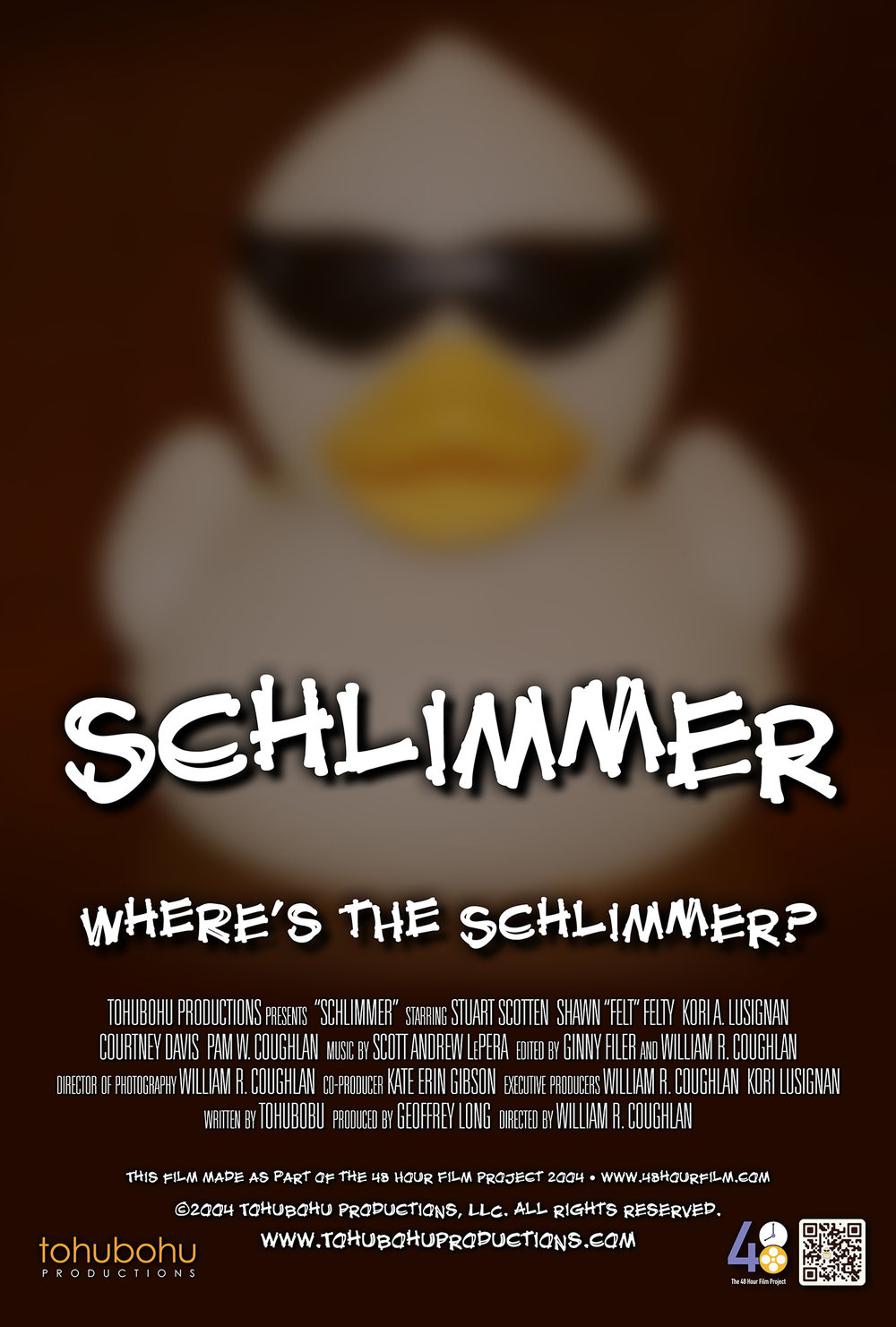 "Schlimmer - 2004 · 8:12 · written by Tohubohu · produced by Geoffrey long · directed by William R. CoughlanSebastian is eager to show off his latest acquisition to a cadre of eccentric — and soon-to-be-jealous — art collectors, even hiring his photographer nephew to capture the unveiling for posterity. But when the ""Schlimmer"" turns up missing, accusations of theft begin flying, and long-simmering resentments begin to undermine the group's cohesion.""Schlimmer"" — a mystery — was made as part of the 48 Hour Film Project 2004. The entire piece was created over the weekend of May 7–9, 2004, and first screened at the AFI Silver Theatre on Friday, May 14."