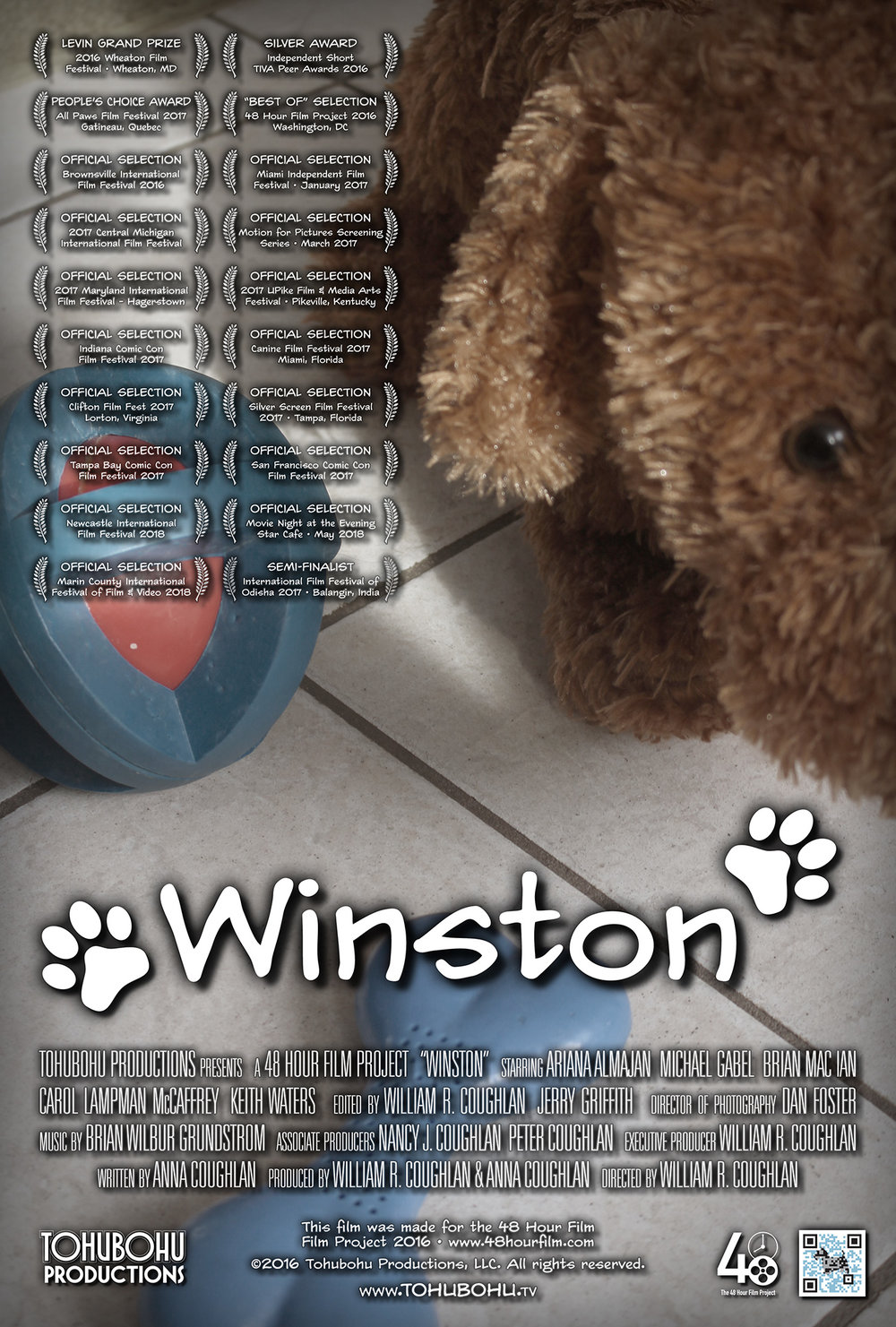 "Winston - 2016 · 9:27 · written by Anna Coughlan · produced by William R. Coughlan & Anna Coughlan · directed by William R. CoughlanAlina, eager for a promotion at work, agrees to take on what appears to be a straightforward task: Housesitting and taking care of her boss Sybil's precious dog, Winston. But confusion sets in when Alina arrives at the home only to discover that ""Winston"" is in fact a stuffed animal — leading her to question both her boss's motives and her mental state.After an extraordinarily successful slate of films for 2015, Tohubohu returned to the 48 Hour Film Project in 2016 with ""Winston,"" a lighthearted animal film, for which ""Tex: Wisdom of the Old West"" co-screenwriter Anna Coughlan took on solo scripting duties (as well as co-producing). The film was produced over the weekend of April 29th through May 1st, 2016, and premiered at the AFI Silver Theatre on Saturday, May 7th."