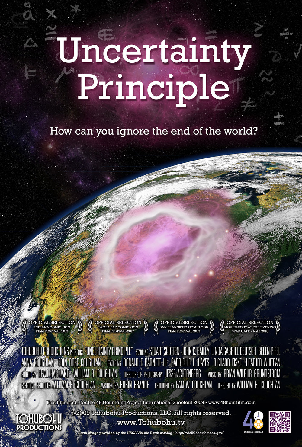 "Uncertainty Principle - 2009 · 7:19 · written by Robin Brande · produced by Pam W. Coughlan · directed by William R. CoughlanDire warnings of immminent disaster have proven justified, as global destruction begins raining down from purple-hued skies. A Washington family struggles to cope with the advancing armageddon until a lone physicist proposes an unorthodox course of action.On the strength of Tohubohu's performance in the 2009 48 Hour Film Project, we were invited to participate in the 2009 International Shootout, along with 53 other teams from around the globe. Bringing back the core creative team from ""Please Forward,"" we produced ""Uncertainty Principle"" from December 4th through the 7th, 2009, structured around the required theme ""the end of the world."""