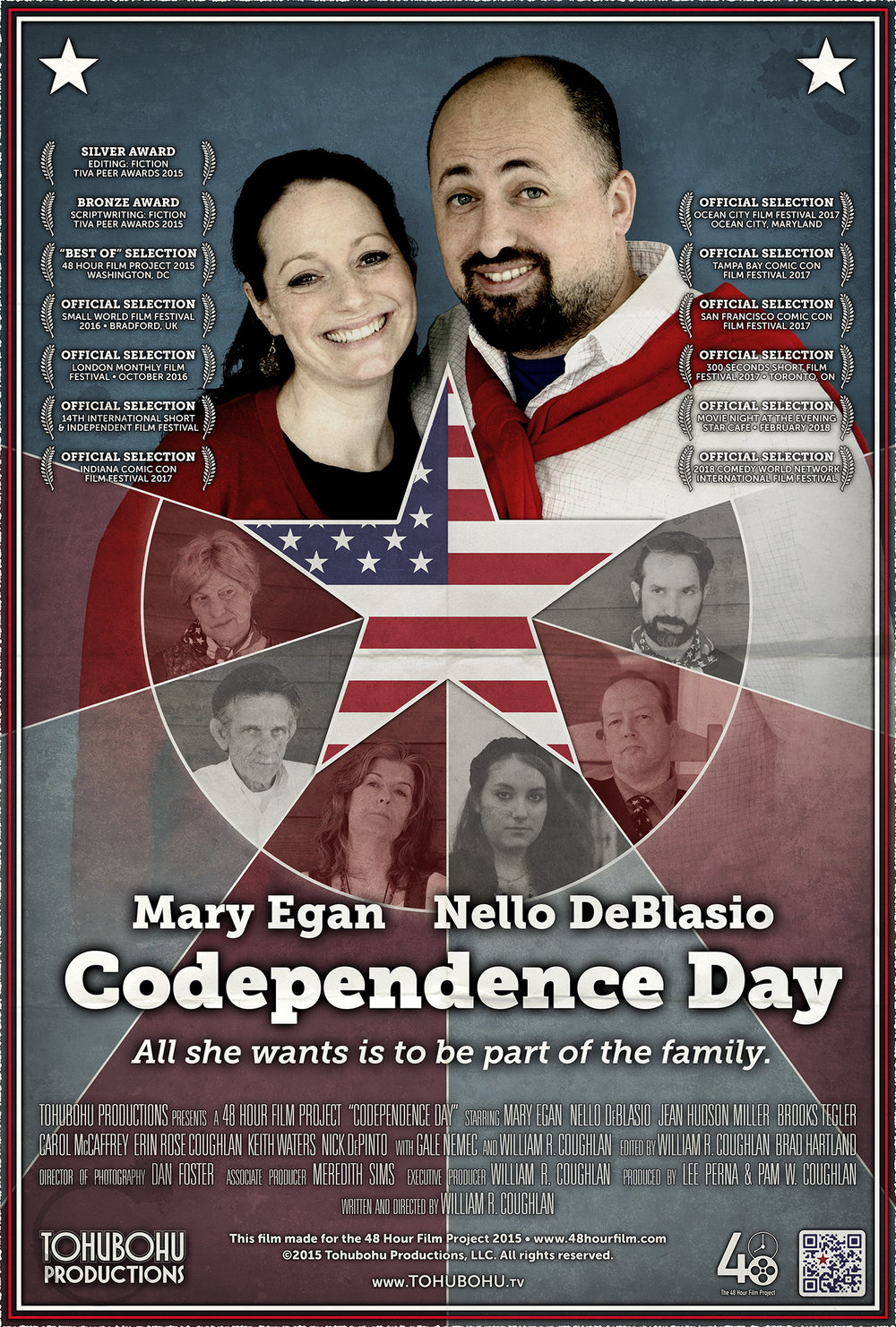 "Codependence Day - 2015 · 5:00 · produced by Lee Perna & Pam W. Coughlan · Written and directed by William R. CoughlanEmily is nervous about meeting her husband Wilson's family for the first time at their annual Independence Day gathering. Having eloped, she is concerned that the family will never accept her as one of their own. But Wilson has a plan to bring her into the fold — competing in the family's annual (if ridiculous) tradition of throwing balls at a target object, a barely-recognizable variation of bocce.After producing only one short film each year in 2013 and 2014, Tohubohu returned to the 48 Hour Film Project with a vengeance in 2015 with ""Codependence Day"" — an offbeat interpretation of the traditional ""holiday film."" The film was created entirely between May 1st through the 3rd, 2015, and premiered at the AFI Silver Theatre on Friday, May 8th."