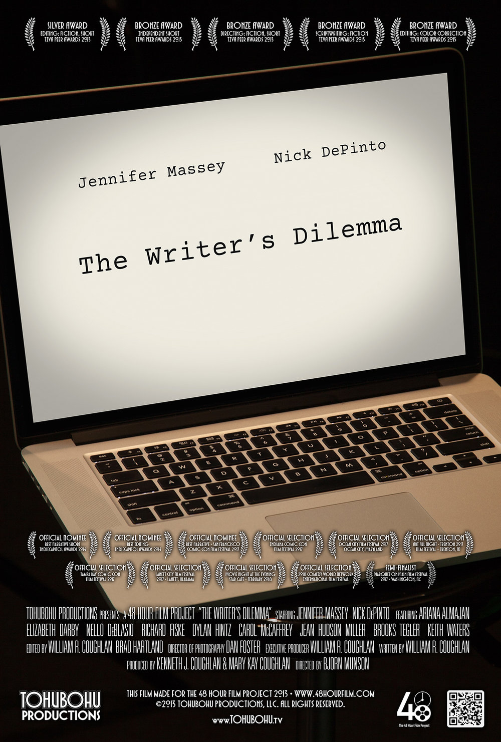 "The Writer's Dilemma - 2013 · 7:50 · written by William R. Coughlan · produced by Kenneth J. Coughlan & Mary Kay Coughlan · directed by Bjorn MunsonAuthors Libby Daricek and Mark LaSalle are each working to finish their respective novels — Mark's being a crime thriller, and Libby's an emotional drama. But as they describe scenes from their works (and propose changes to their pieces), their collaborative relationship is put to the test, especially as they learn they may be competing for the same goal.Tohubohu returned to the 48 Hour Film Project in 2013 with Bjorn Munson in the director's chair for ""The Writer's Dilemma,"" a buddy film featuring a wide cast anchored by Tohubohu veterans Jennifer Massey and Nick DePinto. The film was created entirely across the weekend of May 3th through the 5th, 2013, and premiered at the AFI Silver Theatre on Saturday, May 11th. Frequent Tohubohu director William R. Coughlan took on scriptwriting duties (his first solo Tohubohu scriptwriting effort since 2004's ""Loose Ends."""