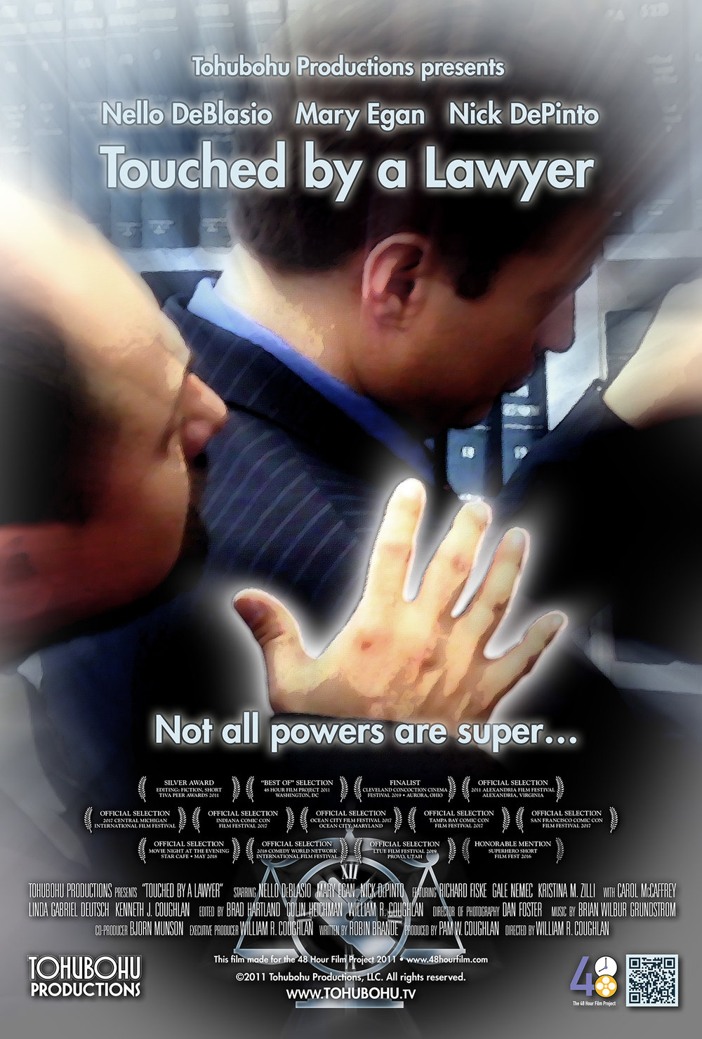 """Touched by a Lawyer - 2011 · 5:53 · written by Robin Brande · produced by Pam W. Coughlan · directed by William R. CoughlanPhil has an amazing ability: With a touch, he can see exactly one hour and eight minutes into someone's past. Unfortunately, it seems to cause him nothing but trouble — especially at the office, where he is called in before the boss and lectured on """"inappropriate touching."""" His coworker Lily is convinced that his ability makes him a superhero, but Phil is hardly persuaded… until a chance bump with a new client shows him that he may have an opportunity to prove her right.Tohubohu jumped into the 48 Hour Film Project's tenth-anniversary competition with """"Touched by a Lawyer,"""" a """"superhero"""" film produced entirely across the weekend of April 29th through May 1st, 2011. Robin Brande returned to scriptwriting duty, and William R. Coughlan and Pam W. Coughlan were back as director and producer respectively (not to mention celebrating their own wedding anniversary on the weekend in question). Dan Foster stepped up as director of photography for our first film to be shot using a DSLR camera. The team was also followed throughout the competition by a videography crew from TIVA, capturing footage for use in a 48 Hour Film Project tribute video to be shown at the 2011 Peer Awards. The film premiered at the AFI Silver Theatre on Wednesday, May 4th."""