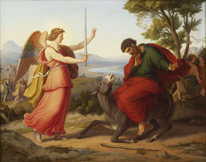 Balaam and the angel , painting from  Gustav Jaeger , 1836.