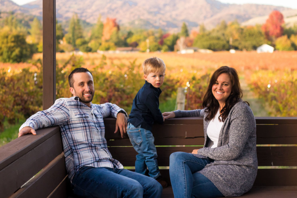 Family portrait at GV Cellars in Wine Country