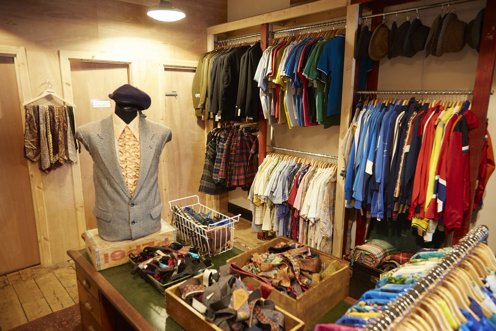 Menswear - We stock classic brands such as Harris Tweed, Barbour, Levi and Wrangler denim, and authentic vintage sportswear.