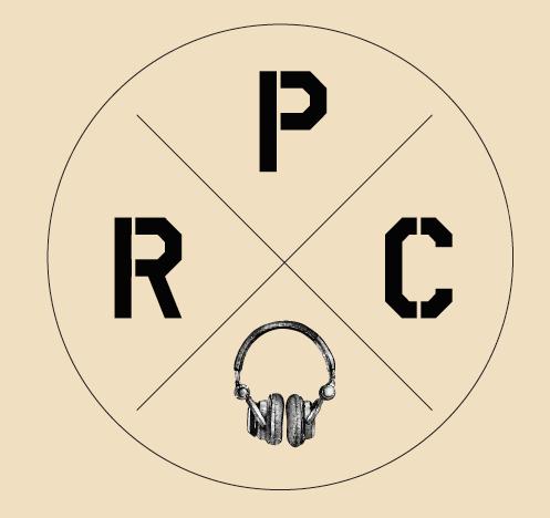 PRC logo - circle divided into 4 quadrants. One letter per quadrant P - R - C - last quadrant has image of headphones