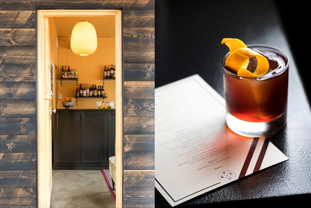 Split image - Left: entry to PRC. Wood slatted walls and yellow door jam with view into bar area. Bar is black with yellow walls. Oversized lamp hangs from ceiling and drinks on wall.