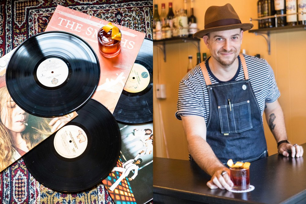 Split image - Left side: records and record sleeves displayed haphazardly on decorative rug with whiskey drink on one corner of record. Right image: bartender serving whiskey drink.