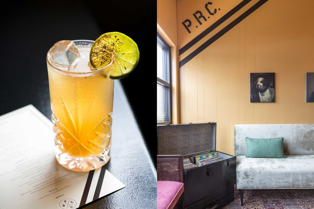 Split shot. Left image: yellow cocktail with lime garnish sitting on PRC menu. Right image: corner of room with PRC logo painted black on yellow wall. Plush bench seating and trunk full of records.
