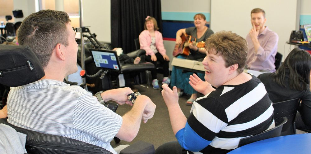 music therapy  - On a weekly basis individuals enjoy listening, singing and playing instruments. Music helps promote socialization, communication, memorization, cognitive function, self expression and motor skills.