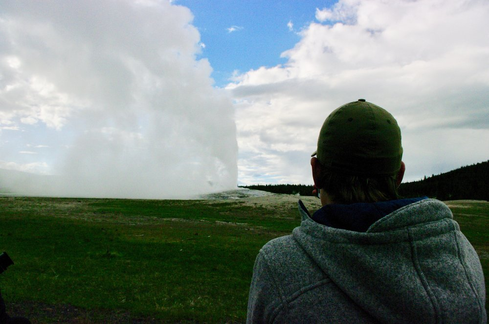 Ike watching Old Faithful