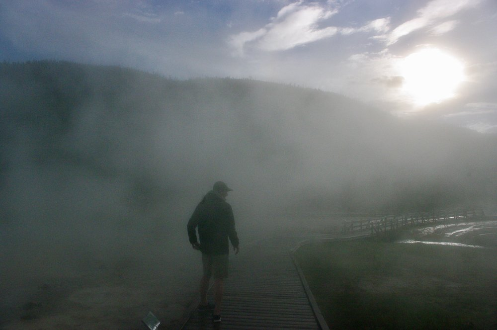 Ike in the hot spring steam