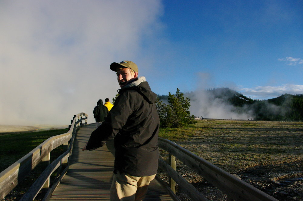 Ike walking toward the Grand Prismatic Spring