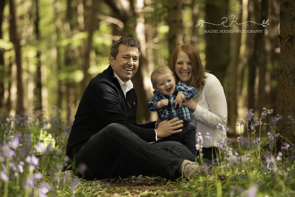 Family in the bluebells in Henley-on-Thames