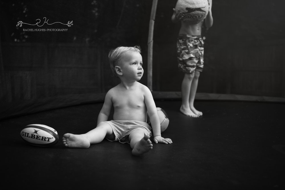 Jersey photographer - baby boy on trampoline