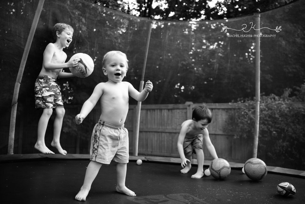 Jersey photographer - three boys on trampoline