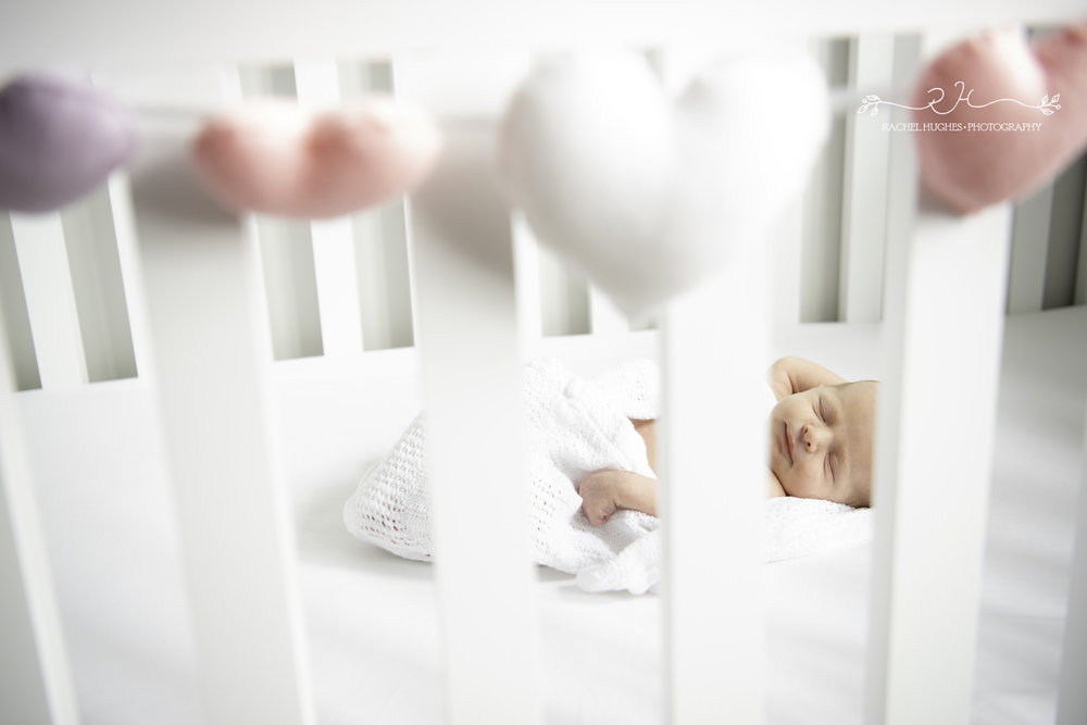 Jersey photographer - newborn at home in cot