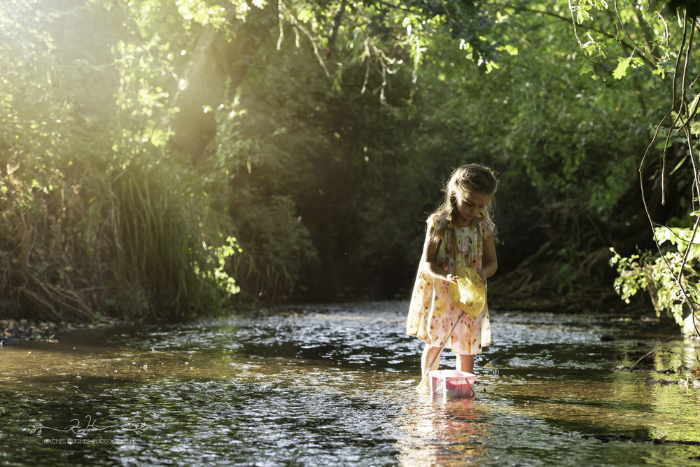 Jersey photographer - girl fishing in stream