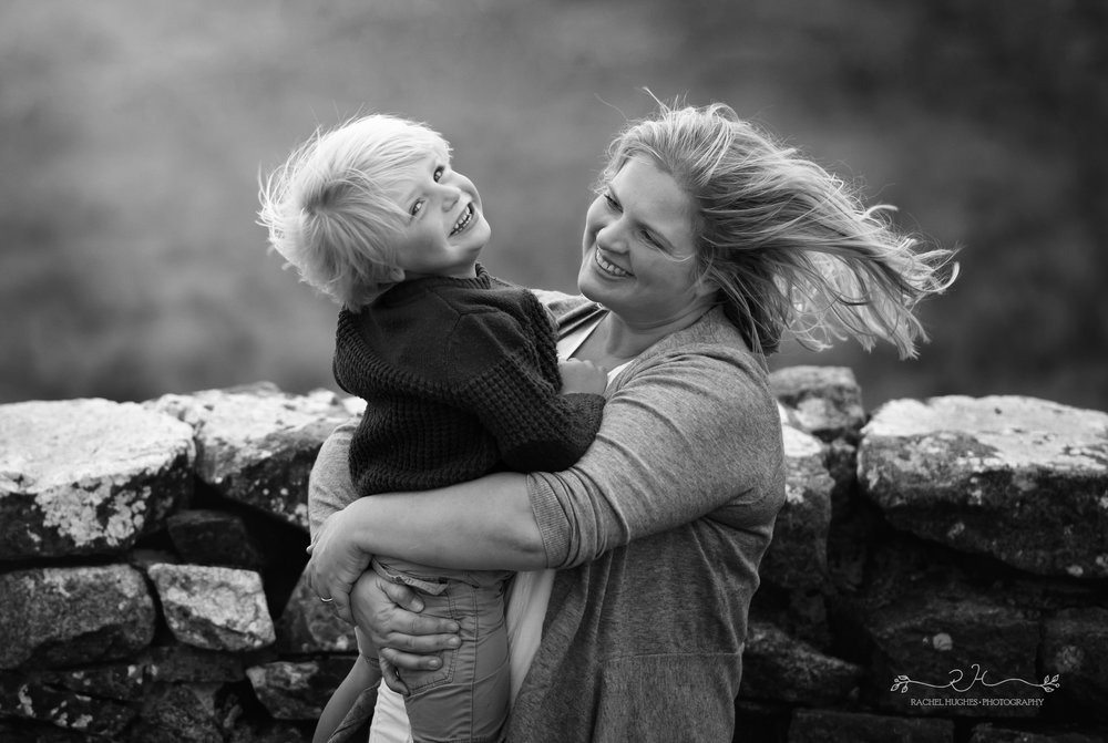 Jersey photographer - mum and boy in storm