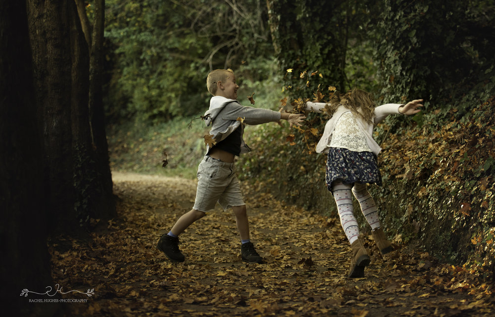 Jersey photographer - brother and sister leaf fight