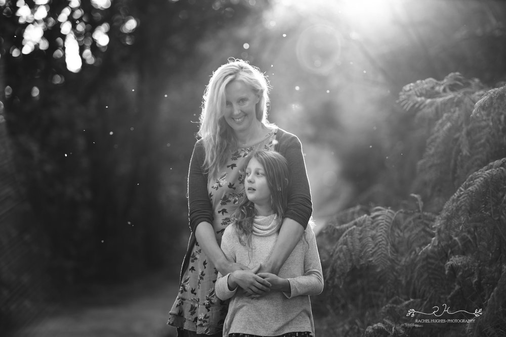 Jersey photographer - mother and daughter in light beam