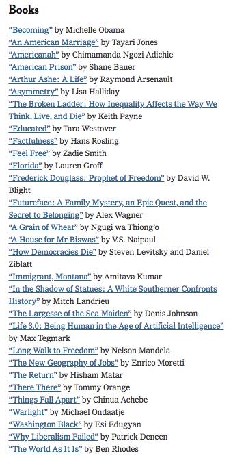Barack Obama's Favorite Books of 2018