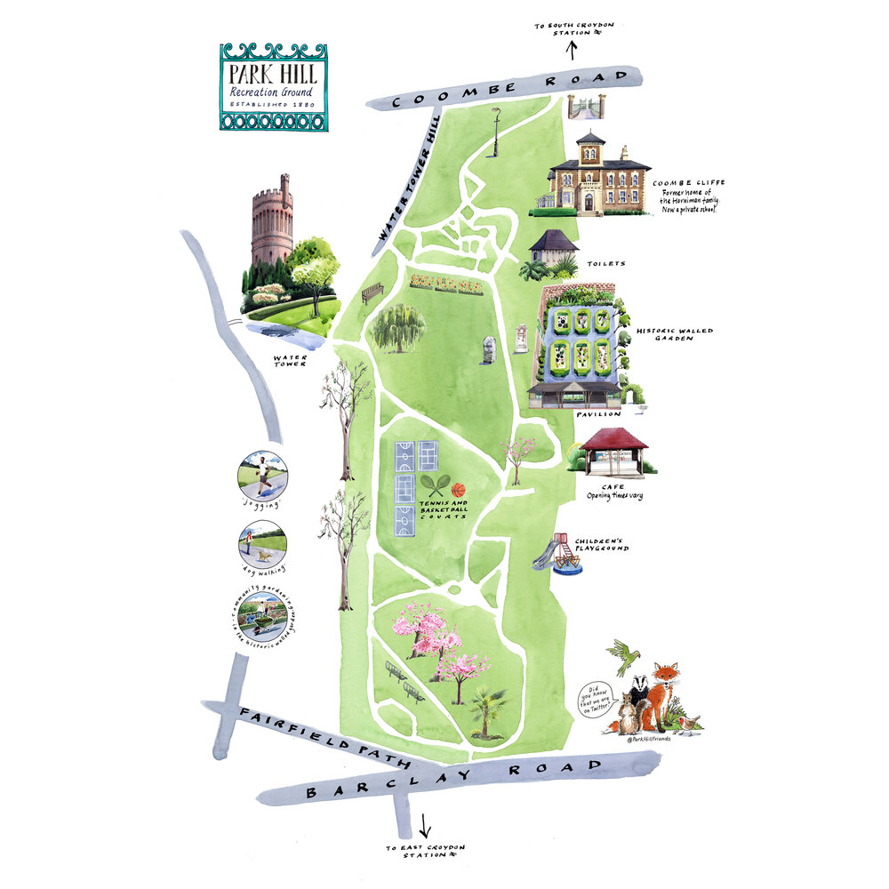 Illustrated map commissioned by the Friends of Park Hill Park, Croydon.