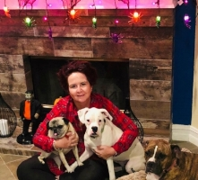 """SUZANNE - """"MY THREE DOGS, THEY ARE ALL SPECIAL TO ME IN THEIR OWN WAY. SNUGGLES 12YRS, SHE'S ALWAYS BY MY SIDE. HAZEL 7MTHS, SHE'S ALWAYS MAKES ME LAUGH. YOLO 7YRS, SHE GIVES THE BEST HUGS."""""""