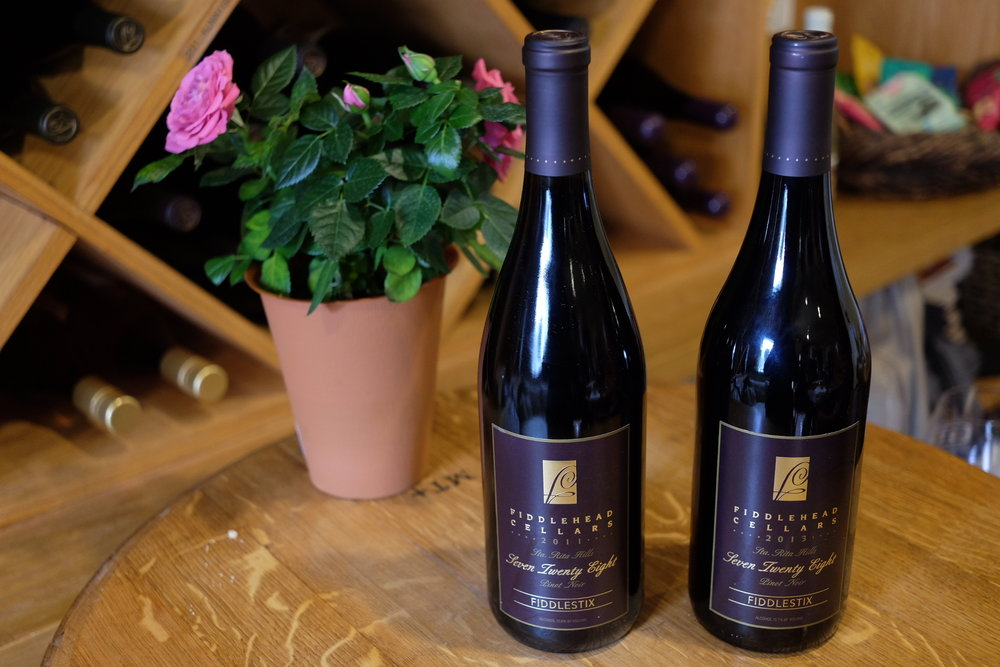 Two separate vintages of the amazing 728 Pinot Noir.