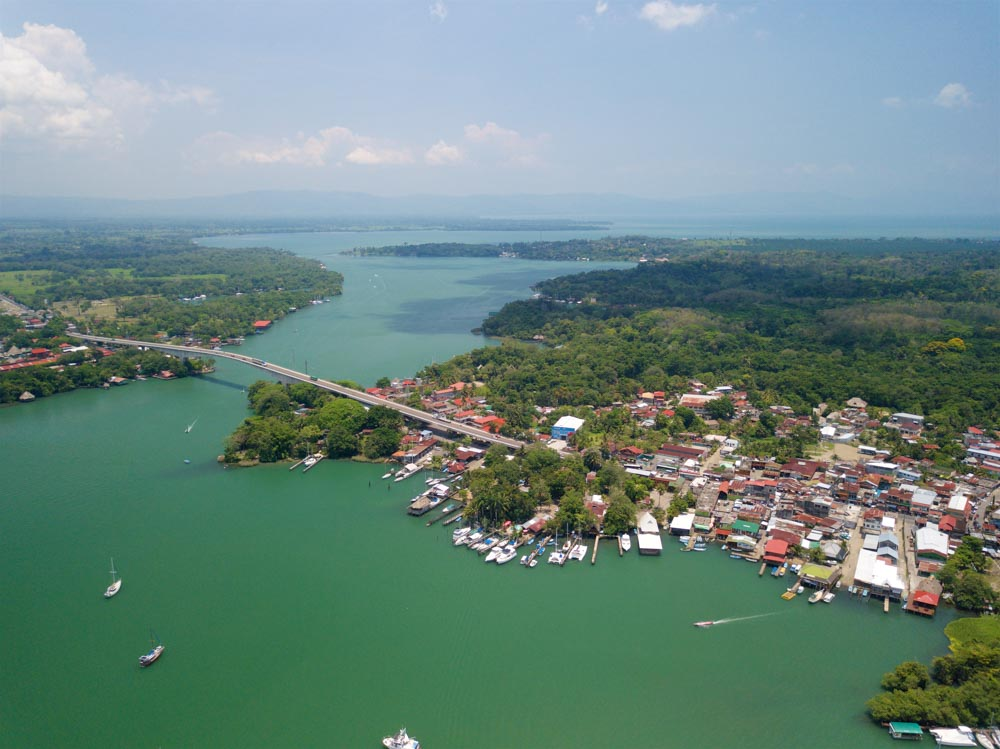 Overlooking the famous bridge of Rio Dulce and Lake Izabal
