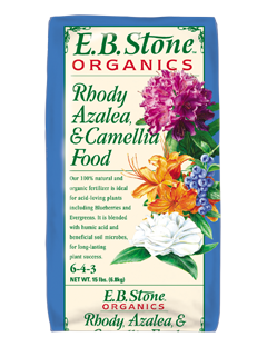 E.B. Stone Rhody, Azalea & Camellia Food  is formulated with a select blend of natural organic ingredients specifically for the needs of acid-loving plants. It will encourage growth, green foliage and beautiful flowers. It is also suited for use on other acid-loving plants including Blueberries, Fuchsia and evergreen conifers.   READ MORE