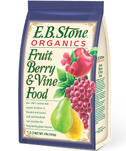 Our  E.B. Stone Organics Fruit, Berry & Vine Food  is a blend of select organic ingredients ideal for fruit trees, berries and fruiting vines. It is formulated to encourage lush green foliage and support bountiful crops. It's rich in nitrogen, essential for all fruiting crops, plus phosphate and potash which are important for fruit production.   READ MORE