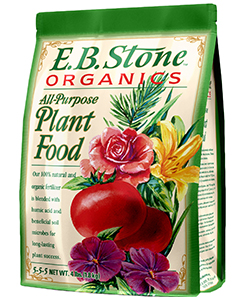 E.B. Stone All Purpose Plant Food  is a blend of natural organic ingredients formulated for use throughout the garden. It is suitable for use on vegetables, trees, shrubs, lawns and flower gardens. It is ideal for use when preparing new planting areas and for feeding existing plants.    READ MORE