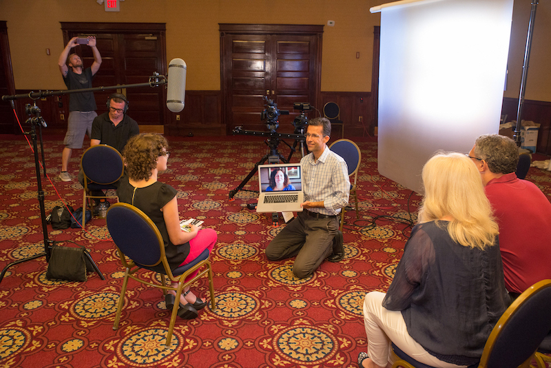 Interviewing a Make-A-Wish family in Orlando.