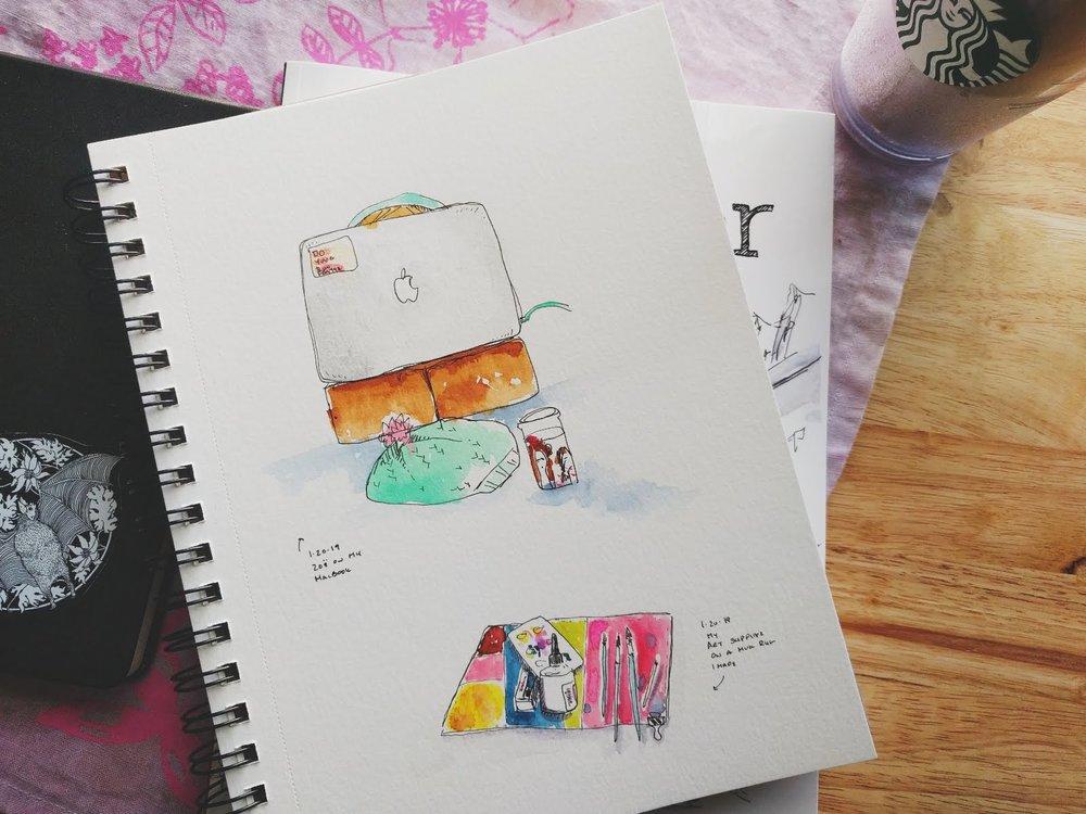 MATERIALS:  Prima watercolors, Daniel Smith watercolors and Micron pen (02)