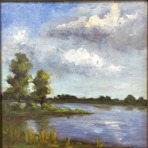 Christine Raymond,  Silver Lake , Oil on birch